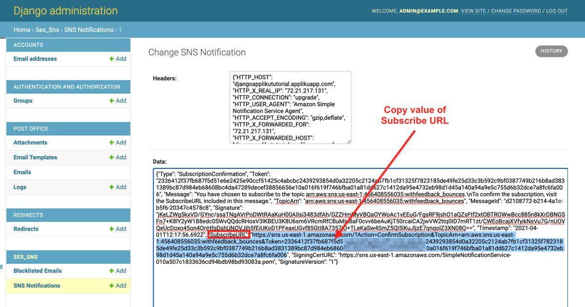 SNS Notification subscribe URL in Django Admin