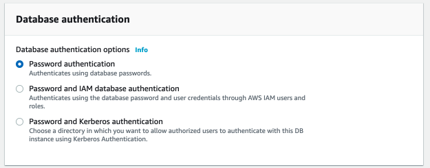 AWS RDS Postgres Database authentication Password Authentication