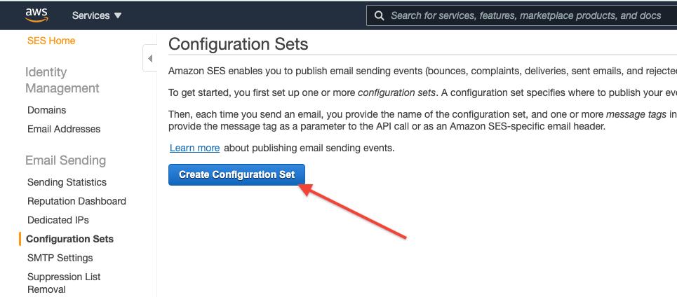 "AWS SES Click the ""Create Configuration Set"" button"