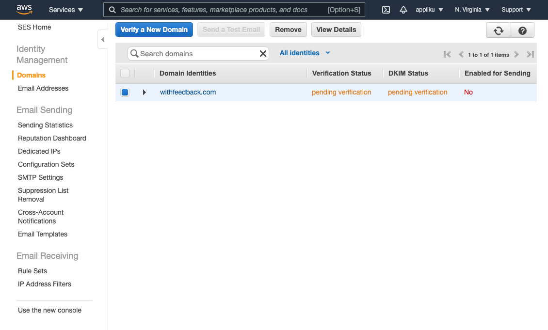 AWS SES interface for added domain pending verification
