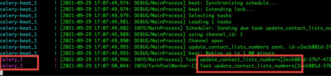 Celery scheduled task log