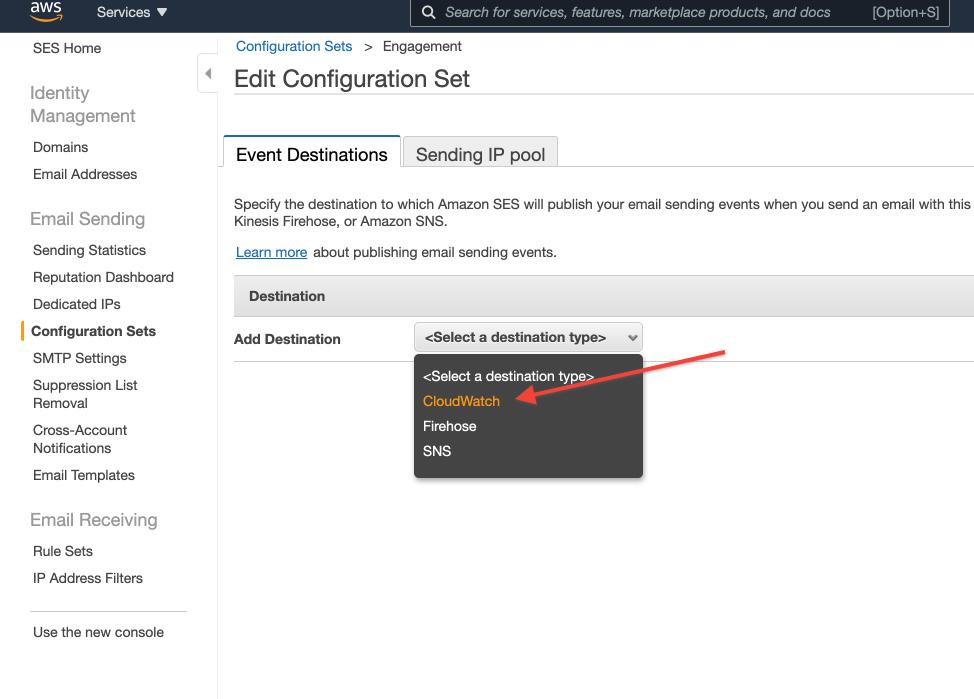 SNS Edit Configuration Set, Add destination Cloudwatch