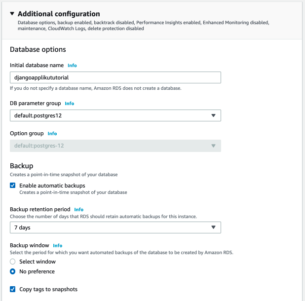 RDS Postgres Additional configuration and backups