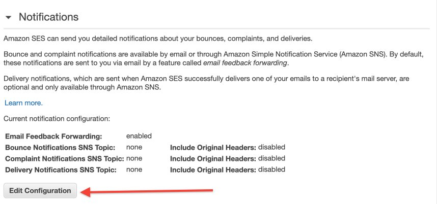 SNS Notifications for domain: Bounce, Complain Notifications