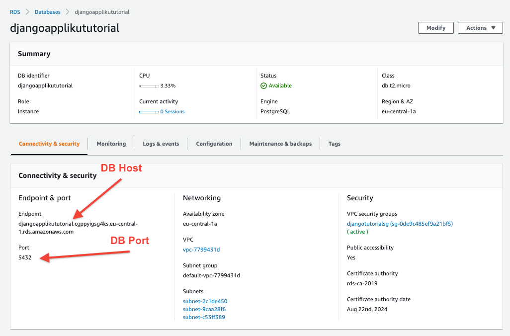 AWS RDS Postgres Instance information endpoint and port
