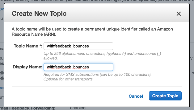 Create a new SNS topic from SES for bounces