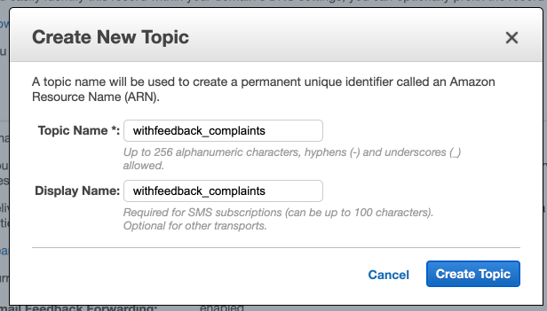 Create a new SNS topic from SES for complaints