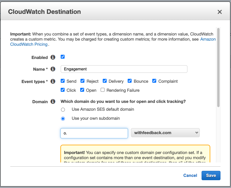 Use your own open and click tracking subdomain SES Cloudwatch Destination