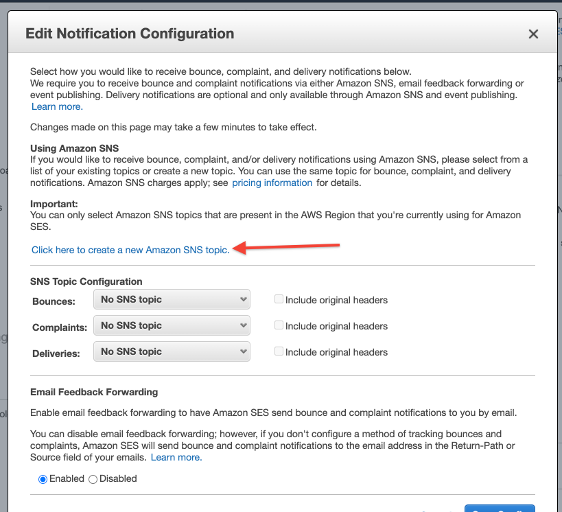 Click here to create a new Amazon SNS topic