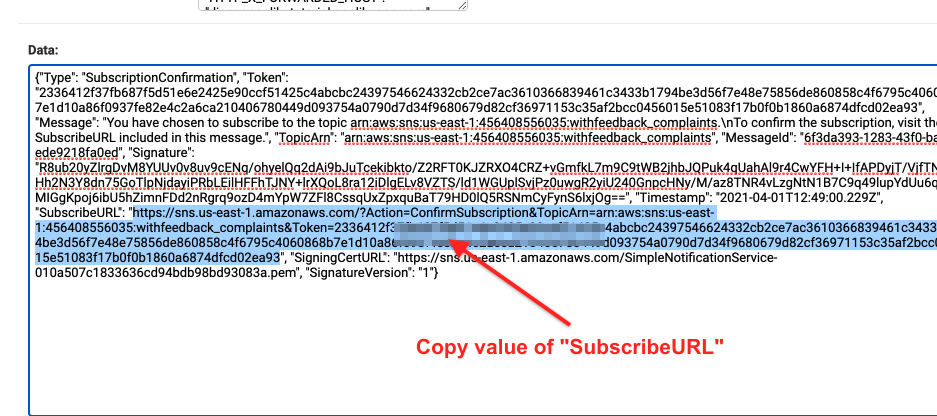 Subscribe URL to confirm subscription for SNS topic